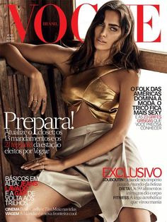 Irina Shayk Models Gold Top, Shorts for Vogue Brazil August 2014 Cover