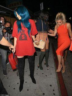 Kylie Jenner raids Khloe Kardashian's closet for thigh-high boots #dailymail