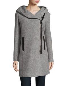 """<ul> <li>Cozy style in a textured, asymmetric coat</li> <li>Attached hood</li> <li>Long sleeves</li> <li>Asymmetric zipper closure</li> <li>Side slip pockets</li> <li>One inside pocket</li> <li>Lined</li> <li>About 37"""" from shoulder to hem</li> <li>Wool/acrylic/polyester</li> <li>Dry clean</li> <li>Imported</li> </ul>"""