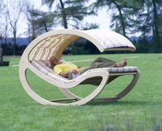 Unique, architectural design lawn chair. $110.00, via Etsy.