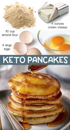 Easy Keto Breakfast Recipe: 3 Ingredient Low Carb Pancakes made with simple ingredients! Almond flour, cream cheese and eggs. This fast and easy low carb& The post The BEST 3 Ingredient Keto Pancakes appeared first on Griffith Diet and Fitness. Low Carb Breakfast Easy, Breakfast Recipes, Dinner Recipes, Lunch Recipes, Fast Breakfast Ideas, Easy Low Carb Meals, Easy Keto Recipes, Cream Cheese Keto Recipes, Bread Recipes