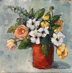 """Daily Paintworks - """"March Bunch"""" - Original Fine Art for Sale - © Martha Lever Oil Painting Flowers, Watercolor Flowers, Watercolor Art, Monet, Cool Art Projects, Diy Canvas Art, Arte Floral, Naive Art, Painting Patterns"""