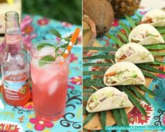 Tropical themed party - pork tacos with skewer - yum