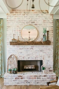 Rustic Natural Wedding In Style 2267 Morning Glory by Casablanca Bridal: Madison & Matthew Brick Fireplace Makeover, Home Fireplace, Fireplace Remodel, Fireplace Design, Fireplaces, Home Living Room, Great Rooms, Home Remodeling, Building A House