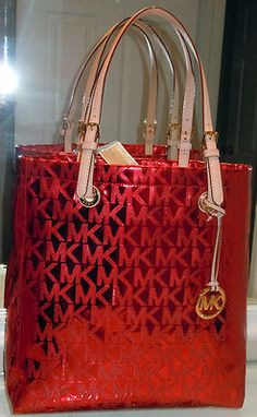 prada small saffiano lux tote pink - $228 Michael Kors Handbag Items Mk Coated Logo Tote Purse Red Bag ...