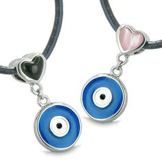 Amulets Evil Eye Protection Reversible Double Lucky Hearts Love Couple Pendant Necklaces