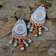 Indian Summer, Colorful Copper Dangle Earrings kristibowmandesign, kristi bowman design