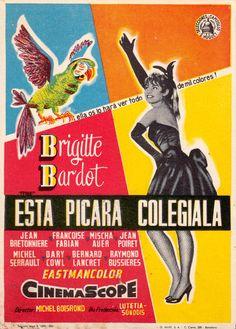 BRIGITTE BARDOT 'THAT NAUGHTY GIRL' 'ESTA PICARA COLEGIALA' 1956 original vintage Spanish movie Herald flyer from my collection (follow minkshmink on pinterest)