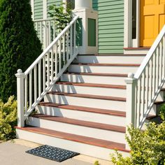 Steep porch steps with handrails. Front Porch Stairs, Front Stoop, Porch Steps, Deck Steps, Front Porches, Front Doors, Up House, House With Porch, House Floor