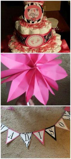 Diaper Cake, Banner & paper bag flower