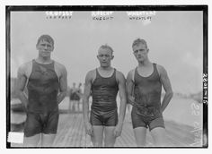 Photo shows competitive swimmers Rex Cropsey, H. Knecht and J. New York Times, August 1913 Vintage Bathing Suits, Vintage Swimsuits, Vintage Photographs, Vintage Photos, Male Swimmers, The Last Summer, Bathing Costumes, Library Of Congress, Man Photo