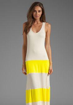 KARINA GRIMALDI Biscot Maxi Dress in Yellow/Nude Combo