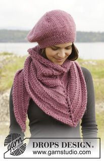 "Knitted DROPS beret and shawl in garter st and stockinette st in ""Eskimo"" or ""Andes"". ~ DROPS Design"