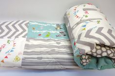 Modern-Baby Quilt-Organic-Baby Boy Bedding-Birch Fabric-Chevron-Gray-Grey-Aqua-Woodland Animal-Elephant-Deer-Baby Blanket