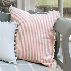 Susie Watson Rose and Ivory Striped Cushions from Forget Me Not Plain Cushions, Striped Cushions, Susie Watson, Fabric Combinations, Living Room Kitchen, Living Room Inspiration, New Room, Table Linens, Soft Furnishings