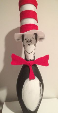 Cat in the Hat bowling pin.  Little paint, hot glue, felt, and patience and he is ready for Seuss Day on March 2.