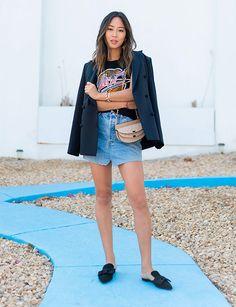 aimee song look saia jeans e blazer