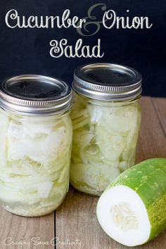 Cucumber and Onion Salad in Vinegar - Easy summer cucumber salad with vinegar dressing. No canning required.this salad can be stored in your refrigerator for several months! A great way to use all those cucumbers from the garden. Cucumber Onion Vinegar Salad, Pickled Cucumbers And Onions, Vinegar Cucumbers, Cucumber Canning, Cucumber Recipes, Pickling Cucumbers, Detox Recipes, Salad Recipes, Kitchens