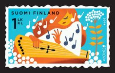 Vote for the musical kantele stamp as the most beautiful in Europe - Itella Corporation Stamp Collecting, Mail Art, Postage Stamps, Finland, Musicals, Snoopy, Europe, Illustration, Fictional Characters
