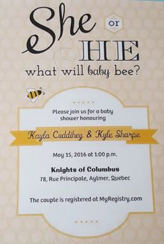 Baby Shower - Gender Neutral Theme | She or He what will baby be #Babyshower #ShowerInvite #Bee