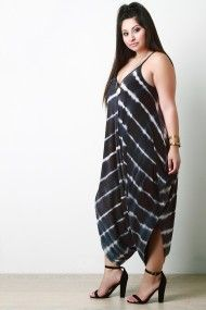 Free SH & Easy Returns! Shop Striped Tie Dye Draped Romper. This plus size romper features a soft knit fabrication, chevron stripe tie dye pattern, v neckline, spaghetti straps, draped loose fitting bottom finished with a dropped crotch.