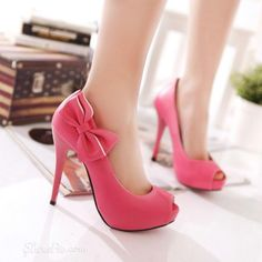 Lovely Pink Peep toe Stiletto Heels with Bowtie Stiletto Heels stilettos heels |2013 Fashion High Heels|