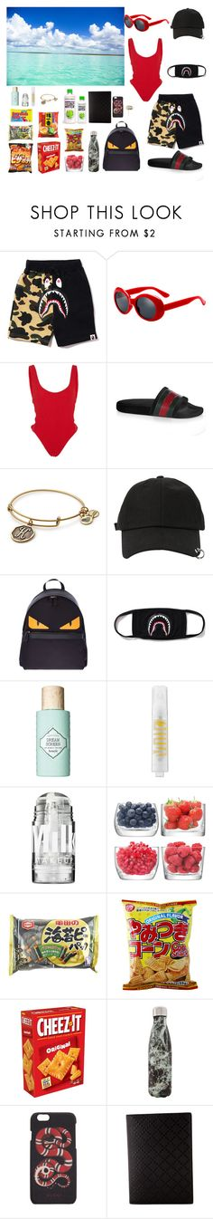"""""""Outfit #136"""" by kepl ❤ liked on Polyvore featuring Hunza G, Gucci, Alex and Ani, StyleNanda, Fendi, Benefit, MILK MAKEUP, LSA International, West Elm and Beats by Dr. Dre"""