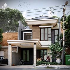 """27 Suka, 0 Komentar - Azhar (@azmydesign) di Instagram: """"Rumah 2 lantai di luas tanah 7x15m2, 4 kamar tidur, 3 km/wc Di daerah kawasan perumahan Bekasi…"""" Home Fashion, Exterior Design, House Design, Mansions, House Styles, Instagram, Home Decor, Decoration Home, Manor Houses"""