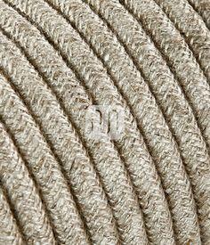 Cavo elettrico tondo rotondo rivestito in tessuto colorato Filato Grezzo Canvas Beige 10 metri 2x0,75 per lampadari, lampade, abat jour, design. Made in Italy!