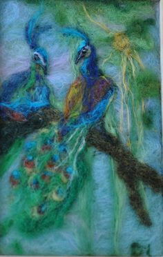 needle felted peacocks I must learn to do this!
