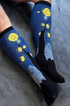 That's the way to wear your favorite art-Sock it to me Starry Night knee socks from Sock Dreams $8