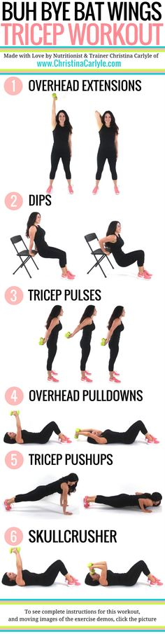 This Tricep Workout was made with the best triceps exercises so you can get more definition and tight arms quickly.  Do all 6 of these exercises for a complete tricep workout.  #triceps #exercises