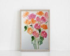 ORIGINAL AQUARELL 11,8 x 15,7 Zoll ( 30 x 40 cm) abstrakte Malerei Bild Kunst Blumenmalerei Blumen Wiesenblumen - Artikel bearbeiten - Etsy