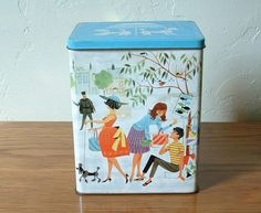 Vintage Candy Tin Street Scene with Poodle Dogs