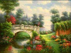 Bonito gráfico de un paisaje con con un río y un puente...