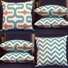 Chevron Print Indoor/Outdoor Cushion - Turquoise, Aqua, Grey and White.