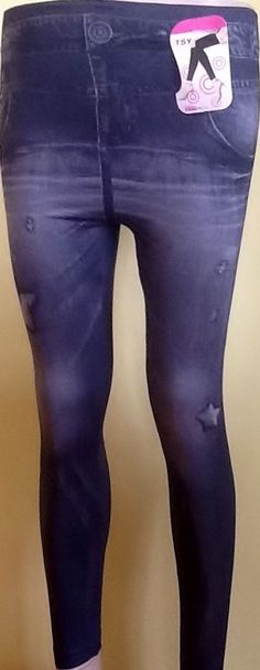Jeans+stern Optik Damen Leggings Hose Jeggings Treggings Strech lang GR.36-44