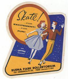 I used to skate here! Vtg Buena Park CA Rollertorium Roller Rink Decal Skating Skate 50 Vintage Labels, Vintage Ephemera, Vintage Ads, Roller Rink, Roller Skating, Roller Disco, Roller Derby, Vintage Magazine, Home