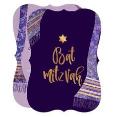 PixDezines Tallit/Lavender Purple/Bat Mitzvah Card - faux gifts style sample design cyo