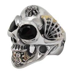 Master Skull Ring-Medium w/Stone Eyes w/1 Spider Web w/2 Spider w/Gold Solder
