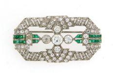 c.1930s Art Deco 4.85 cts DIAMOND 0.56 ct EMERALD PLATINUM BROOCH PIN Antique #Handmade