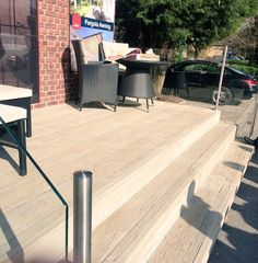 Millboard decking looking good. Decking Ideas, Composite Decking, Beautiful Places, Gardens, Backyard, Spaces, Outdoor Decor, Diy, Home Decor