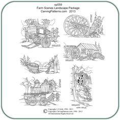 wood burning patterns free | Farm Scene Pattern Package by Lora S. Irish -Classic Carving Patterns