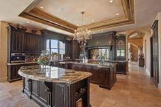 luxury kitchen dark cabinets old world finish