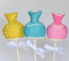 Belle Cinderella and Aurora Disney Princess Dress Cake Pops (BB) Disney Desserts, Disney Food, Princess Dress Cake, Princess Cake Pops, Disney Cake Pops, Disney Cakes, Disney Princess Party, Disney Princess Dresses, Disney Princesses