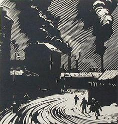 А.А Ушин.На работу. Линогравюра 1953г. 31,5 х 27 см