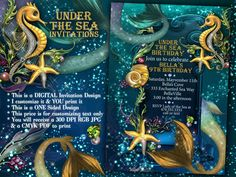 Mermaid, Mermaid Invitations, Mermaid Party, Under the Sea Invitations, Enchanted Seas