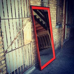 Fulllength Kelly Mirror  Bright Orange by jpmwoodworking on Etsy, $495.00