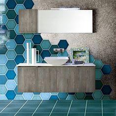 Bathroom + Kitchen Today : Vol. 3 / 2015 from Bathroom + Kitchen Today : Vol. Tiny House Bathroom, Bathroom Spa, Modern Bathroom, Honeycomb Tile, Hexagon Tiles, Creative Wall Decor, Bathroom Trends, Farmhouse Style Decorating, Tile Design