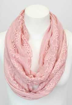 Dusty Pink Lace Infinity Scarf